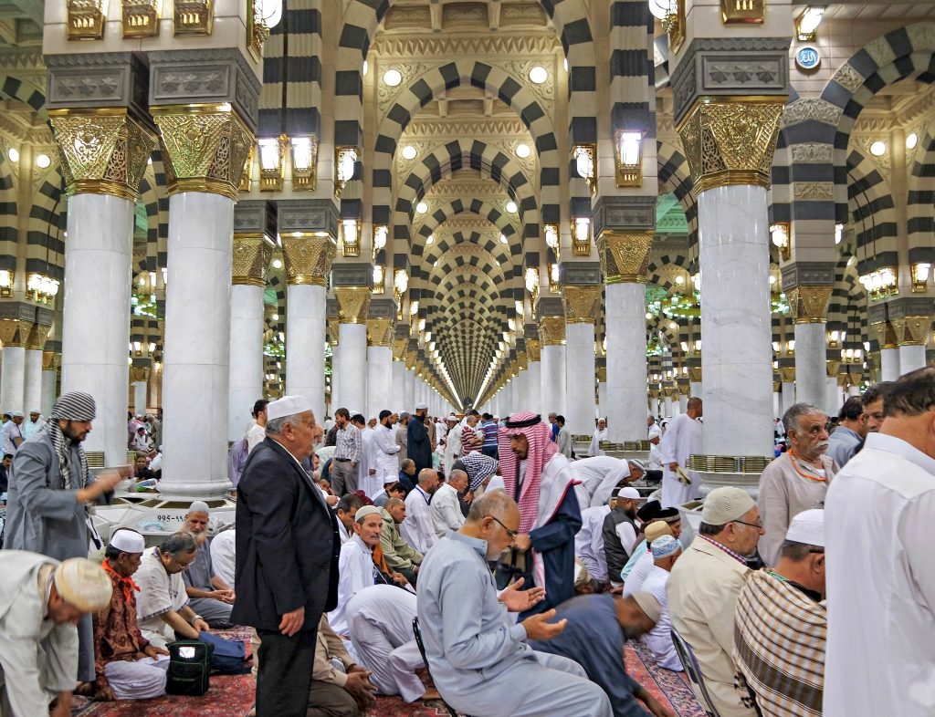 Worshippers preparing for prayers at the Masjid An-Nabawi.